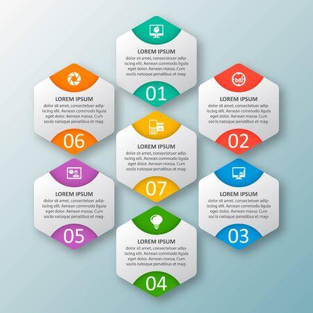 Ilustración de vector abstract 3d paper infographic elements.Hexagon infographics.Honeycomb design - Imagen libre de derechos