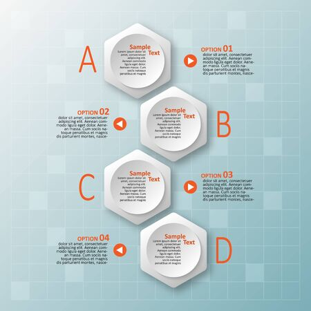 Illustration for vector abstract 3d paper infographic elements.Hexagon infographics.Honeycomb design - Royalty Free Image
