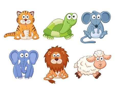 Photo for Cute cartoon animals isolated on white background. Stuffed toys set. Cat, lion, mouse, elephant, turtle, sheep. - Royalty Free Image