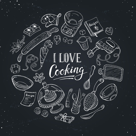 I love cooking poster.  Baking tools in circle shape. Poster with kitchen utensils hand drawn on chalk board.
