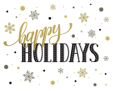 Ilustración de Happy holidays postcard template. Modern New Year lettering with snowflakes isolated on white background. Christmas card concept. - Imagen libre de derechos