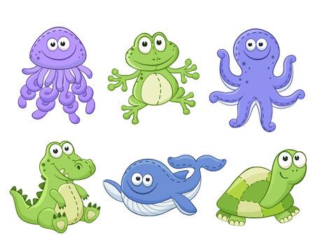 Foto de Cute cartoon animals isolated on white background. Stuffed toys set. Vector illustration of adorable plush baby animals. Jellyfish, frog, octopus, crocodile, whale, turtle. - Imagen libre de derechos