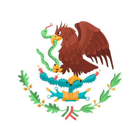 Ilustración de Mexican eagle isolated on white background. Mexico coat of arms. Heraldic symbol of Mexico. - Imagen libre de derechos