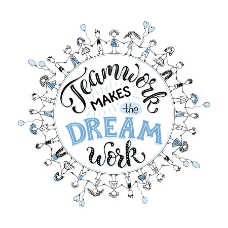 Illustration pour Teamwork makes the dream work. Inspirational lettering in circle composition about team collaboration. Crowd of people holding hands in  sketch stile. - image libre de droit