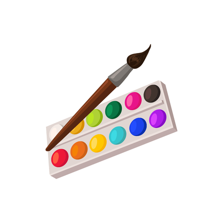 Illustration for Hand drawn paints palette and brush isolated on white background. Vector illustration. - Royalty Free Image