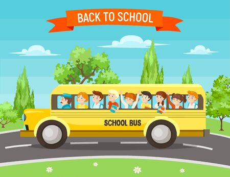 Illustration pour Back to school vector illustration. Cute happy kids with backpacks and books in traditional yellow school bus on the road, surrounded by trees. - image libre de droit