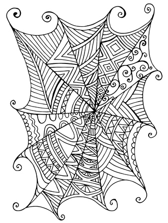 Illustration pour Decorative beautiful spider web, children s coloring book. Pattern isolated. Vector hand drawn antistress fantasy cartoon background with cobweb for halloween. Decorative element. Doodle funny style. - image libre de droit
