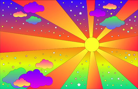 Ilustración de Vintage psychedelic landscape with sun and clouds, stars. Vector cartoon bright gradient colors background. Hippie style landscape. - Imagen libre de derechos