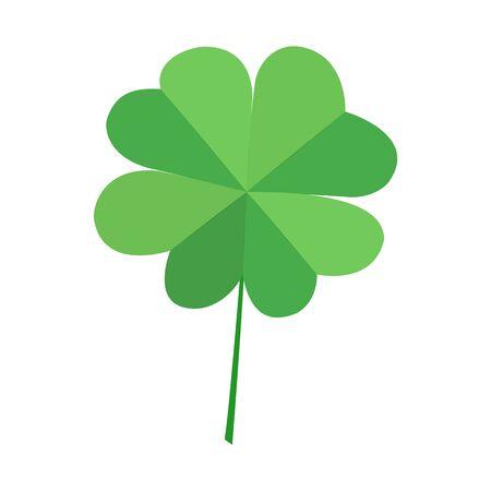 Illustration pour Green quatrefoil clover leaf, isolated on white background. Vector decorative simvol lucky leaf clover. St. Patrick s Day. - image libre de droit