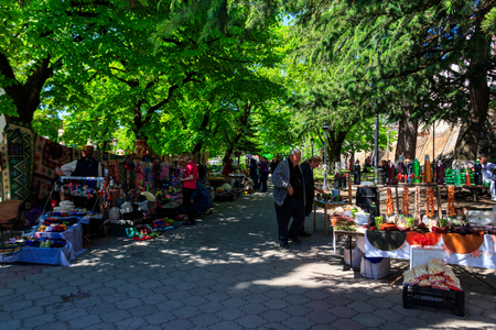 Sighnaghi, Kakheti, Georgia - May 2, 2018: Street trade of souvenirs and folk art product