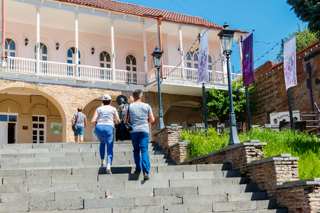 Sighnaghi, Kakheti, Georgia - May 2, 2018: Wedding palace in center of Signagi or Sighnaghi city at Kakheti region. It is called the city of love, with many couples visiting it just to get married
