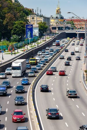 Photo for Kiev, Ukraine - July 28, 2018: Traffic cars on the multi lane highway during rush hour - Royalty Free Image