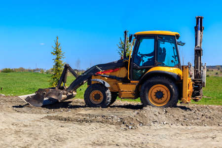 Photo for Bulldozer working on a road construction site - Royalty Free Image