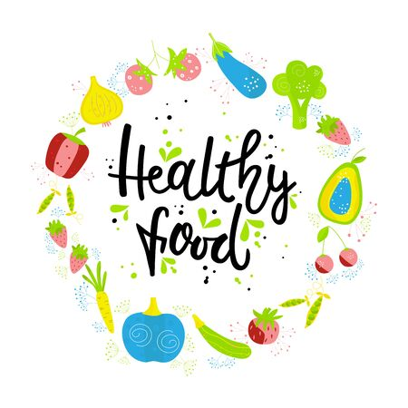 Illustration pour Hand drawn HEALTHY FOOD. Vegetables and fruits on white background with black lettering. The design concept of healthy food, vegetarian, yoga. - image libre de droit