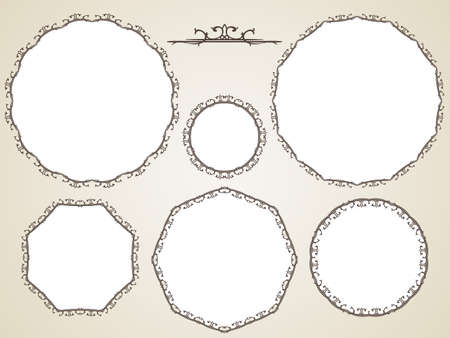Illustration for Ornamental calligraphic round frame, Vector set - Royalty Free Image
