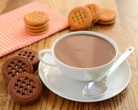 Photo pour Hot chocolate and cookies - image libre de droit