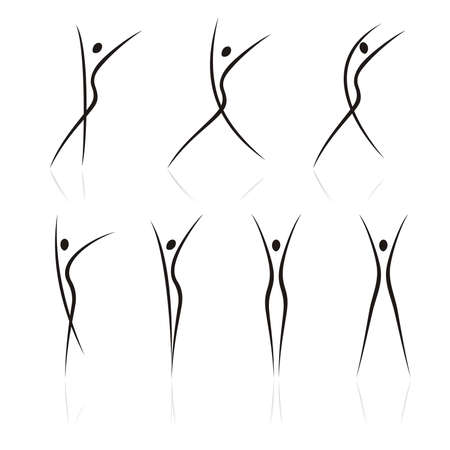 Illustration for abstract female figures in movement - Royalty Free Image