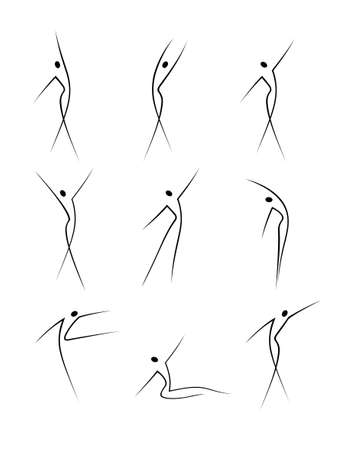 Abstract female figures in movement
