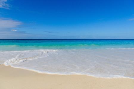 Landscape view of Seychelles paradise coastline tide