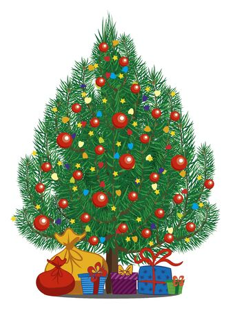 Illustration pour Decorated christmas tree with gifts on white background. Suitable for Christmas and New Year card. Vector illustration. - image libre de droit