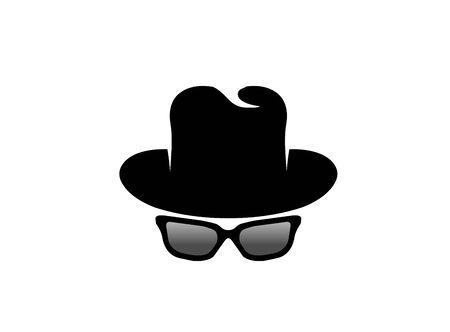 Illustration for Inspector hat and glasses   design illustration, detective secret icon - Royalty Free Image