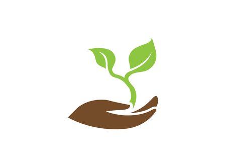 Illustration pour leaves in hand for plant care for logo design illustration on white background - image libre de droit