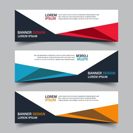 Illustration pour Corporate business banner template in blue, red and yellow color. Set of horizontal advertising business banner layout template flat design. Modern abstract cover header background for website design. - image libre de droit