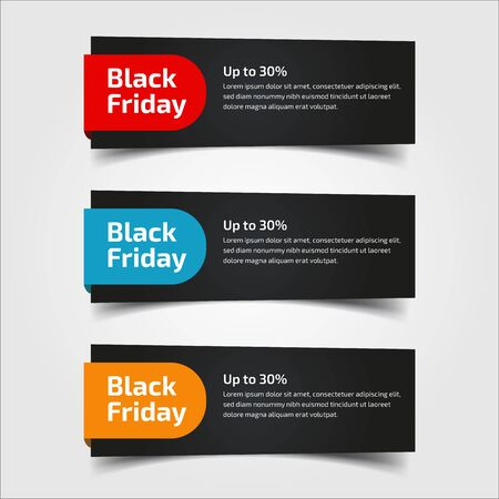 Illustration pour Black Friday up to 30%, 50%, 70%. Banner Design for the sale with red, blue, and yellow colors. Vector illustration. Set of elements of three abstract style on gray background.Elements of infographics - image libre de droit