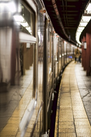 Train on a Subway Station in Manhattan, New York
