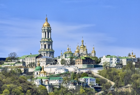 Panoramic view of Kiev Pechersk Lavra Orthodox Monastery from Dnieper river in Kiev, Ukraine
