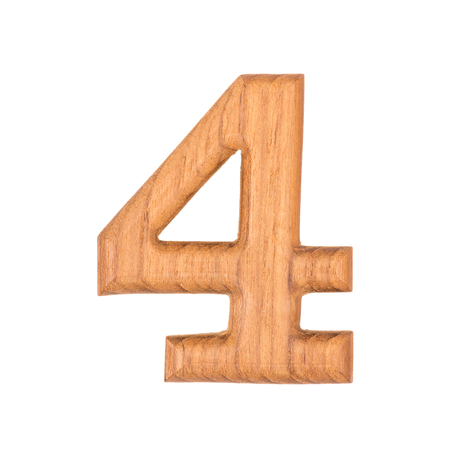 wooden numbers 4 isolate on white background