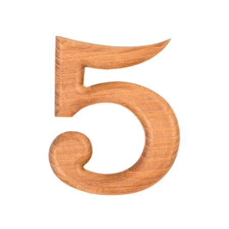 wooden numbers 5 isolate on white background