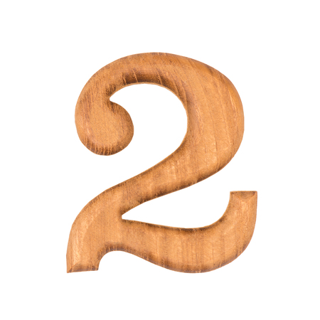 wooden numbers 2 isolate on white background