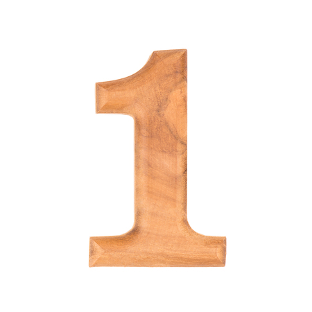 wooden numbers 0 isolate on white background