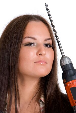 Young woman holding battery drill