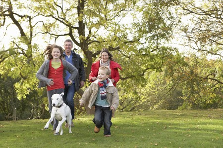 Young Family Outdoors Walking Through Park With Dog
