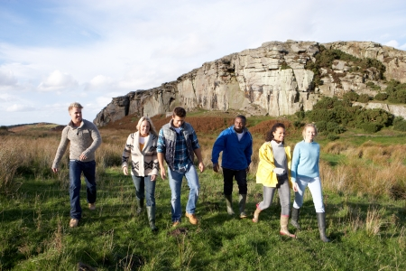 Young adults on country walk