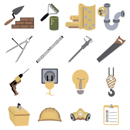 construction and repair tools icons and symbols vector illustration