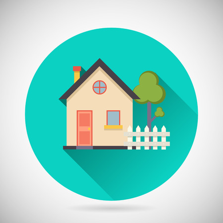 Illustration pour Real Estate Symbol House Building Private Property Tree Fence Icon with long shadow on Stylish Background Modern Flat Design Vector Illustration - image libre de droit