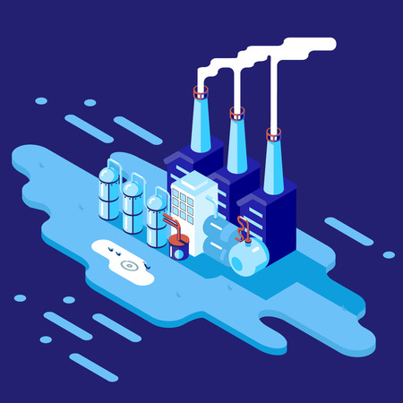 Isometric Retro Flat Factory Refinery Plant Manufacturing