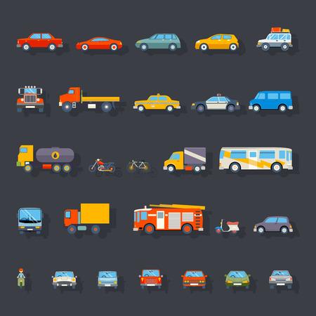 Ilustración de Stylish Retro Car Line Icons Isolated Transport Symbols Vector Illustration - Imagen libre de derechos
