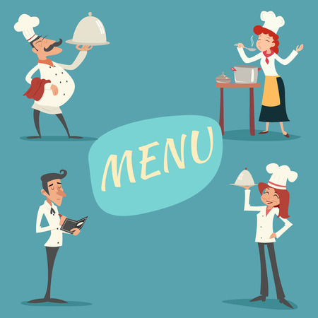 Happy Smiling Male Female Chief Cook Waiter Garcon Serving Dish and Accepts Order Symbol Food Icon on Stylish Background Retro Vintage Cartoon Design Vector Illustration