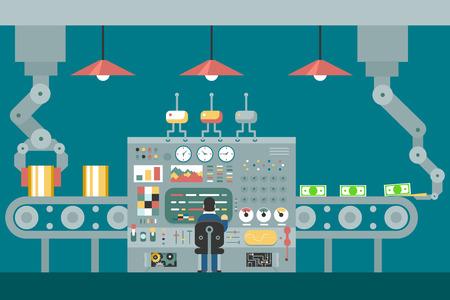 Conveyor robot manipulators work businessman in front of control panel analysis production development study flat design concept illustration