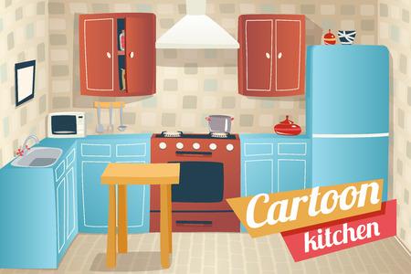 Kitchen Furniture Accessories Interior Cartoon Apartment House Room Retro Vintage Background Vector Illustration