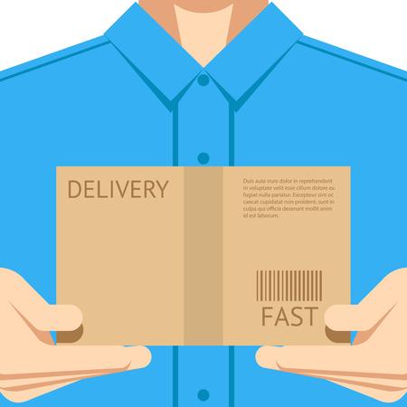 Illustration pour Delivery courier postal man delivering package flat design background concept vector illustration - image libre de droit