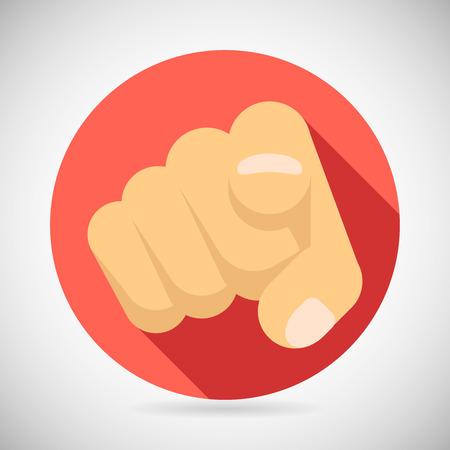 Illustration pour Pointing Finger Potential Client Politician Businesman Elected Icon Concept Flat Design Vector Illustration - image libre de droit