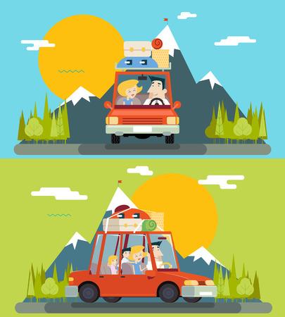 Illustration pour Car Trip Family Adult Children Road Concept Flat Icon Mountain Forest Background Vector Illustration - image libre de droit