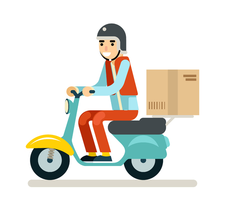 Illustration pour Delivery Courier Motorcycle Scooter Box Symbol Icon Concept Isolated Green Background Flat Design Vector Illustration - image libre de droit