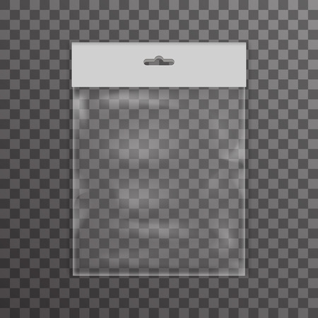 Plastic bag icon transparent reality background vector illustration