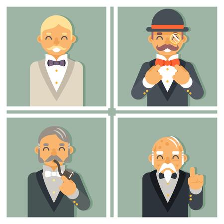 Illustration pour Retro Vintage Photo Frames Wealthy Victorian Gentleman Businessman Old Young Family Tree Stylish Lamp Background Great Britain Design Illustration - image libre de droit